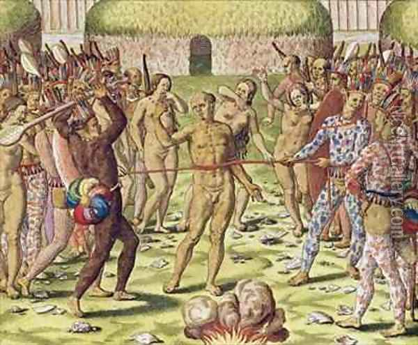 The Execution of an Enemy by the Topinambous Indians Oil Painting - Theodore de Bry