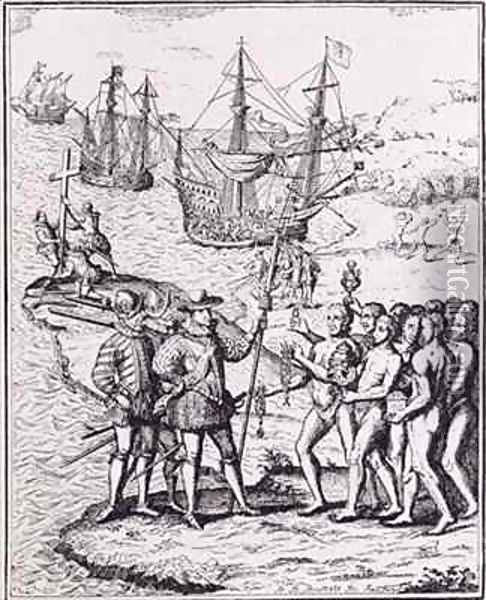 Christopher Columbus (1451-1506) receiving gifts from the cacique, Guacanagari, in Hispaniola (Haiti) Oil Painting - Theodore de Bry