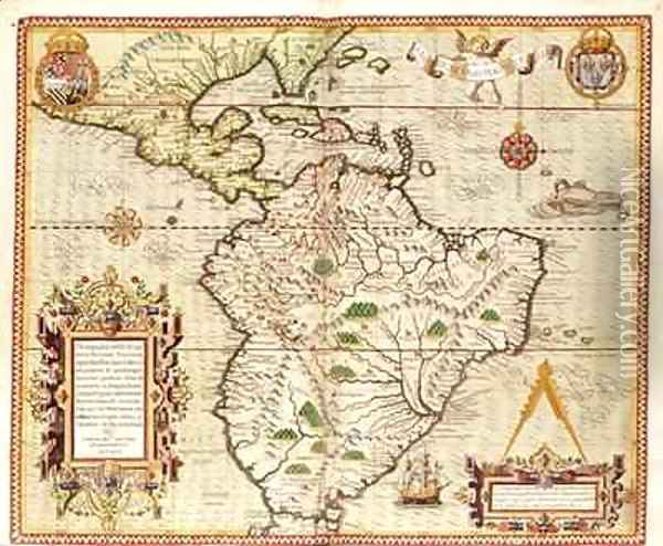 Map of Central and South America Oil Painting - Theodore de Bry