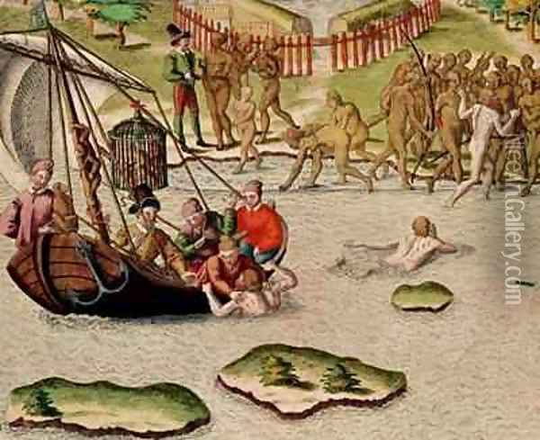 The French Vessel Lands and an Unsuccessful Attempt is Made to Exchange Prisoners Oil Painting - Theodore de Bry