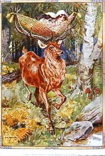 The Stag with the Silken Hammock Oil Painting - Charles Edmund Brock