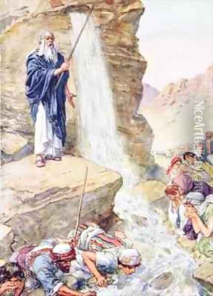 Calling on the name of Jehovah, he struck the rock Oil Painting - Charles Edmund Brock
