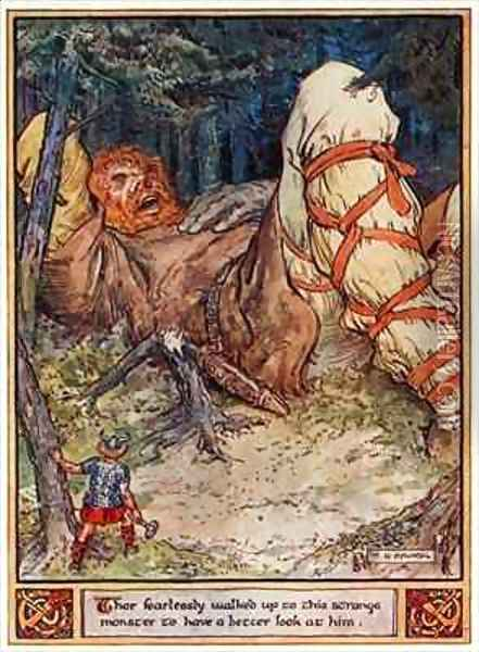 Thor fearlessly walked up to this strange monster to have a better look at him Oil Painting - Charles Edmund Brock