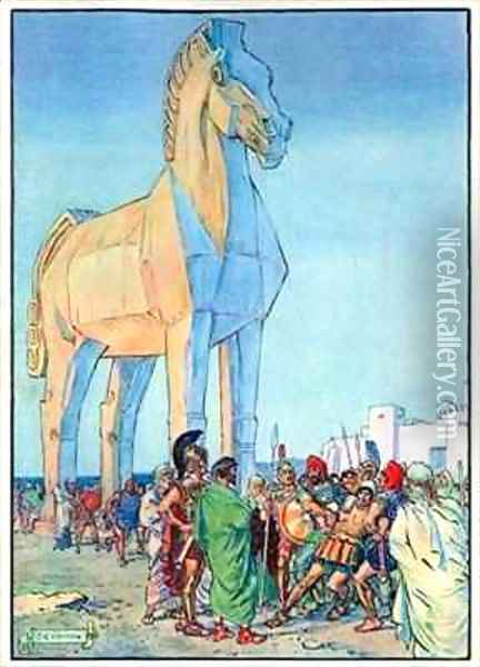 The Trojan Horse Oil Painting - Charles Edmund Brock