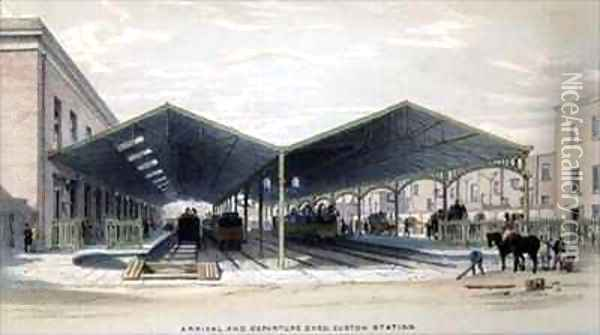 Arrival and Departure Shed, London Oil Painting - John Cooke Bourne