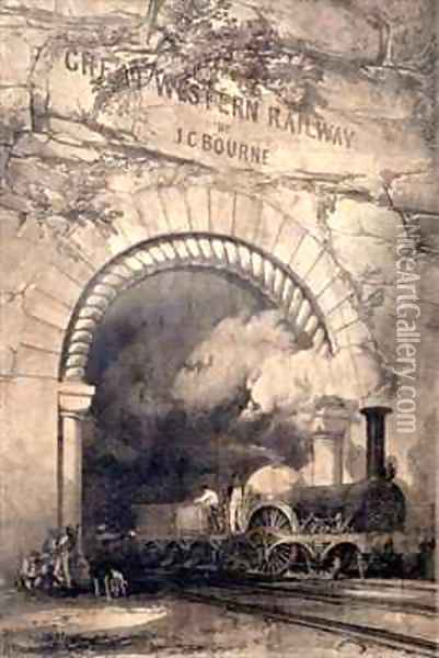 'Acheron' 2-2-2 locomotive emerging from a tunnel near Bristol Oil Painting - John Cooke Bourne