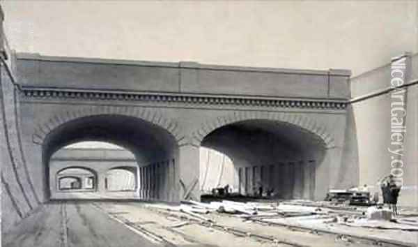 View near Euston Station with three overbridges Oil Painting - John Cooke Bourne