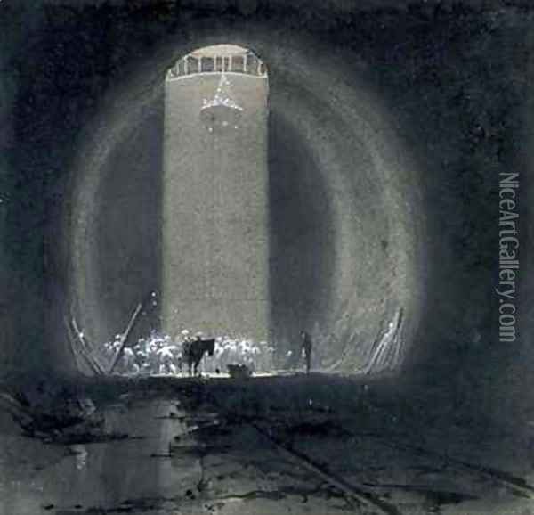 Working shaft, Kilsby Tunnel, Northamptonshire Oil Painting - John Cooke Bourne