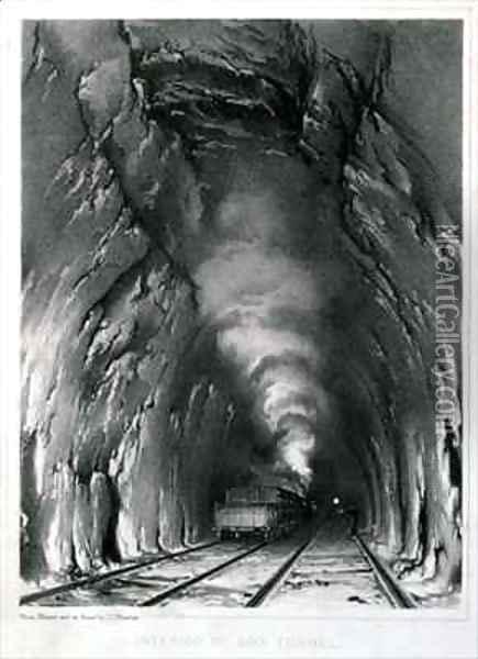 Interior of Box Tunnel Oil Painting - John Cooke Bourne