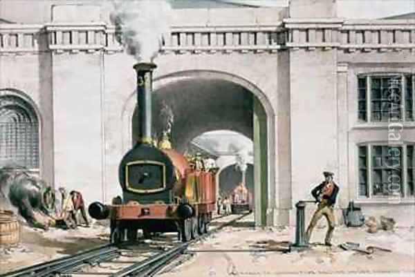 Entrance to the Locomotive Engine House, Camden Town, London Oil Painting - John Cooke Bourne