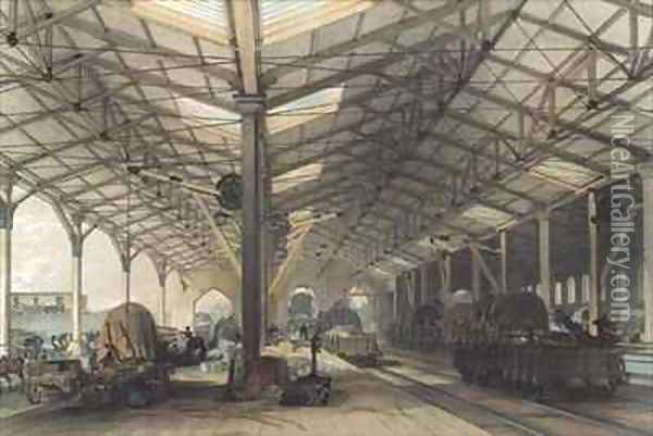 Goods Shed, Bristol, Great Western Railway Oil Painting - John Cooke Bourne
