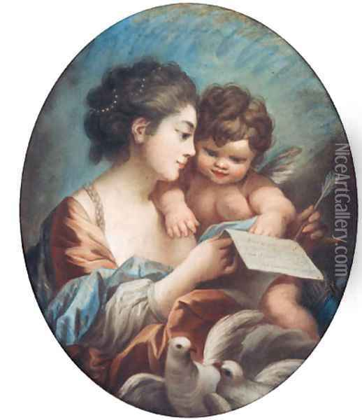 A young Woman with a Cupid in her Arm's holding a Letter Oil Painting - Francois Boucher