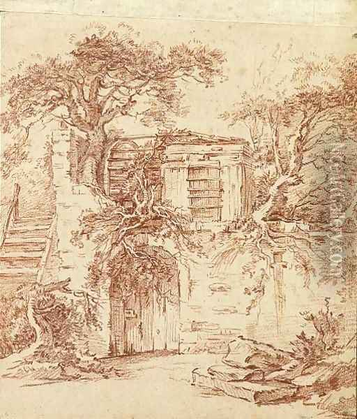 A garden shed built in the ruins of an old cottage overgrown with trees Oil Painting - Francois Boucher