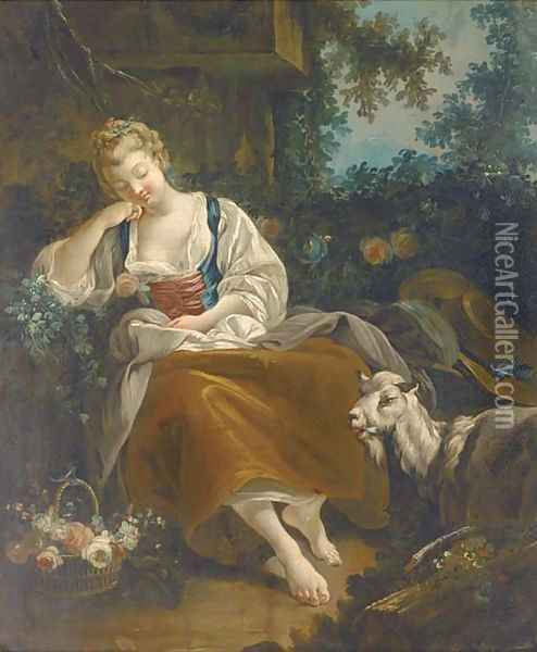 A shepherdess resting in a wooded clearing with a basket of mixed flowers and a goat nearby Oil Painting - Francois Boucher