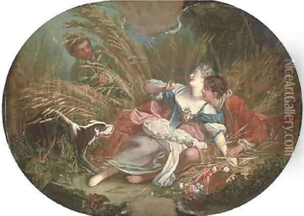 A wheat field with an amorous couple, surprised by a voyeur Oil Painting - Francois Boucher