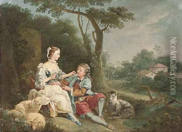 A wooded river landscape with a swain courting a shepherdess Oil Painting - Francois Boucher
