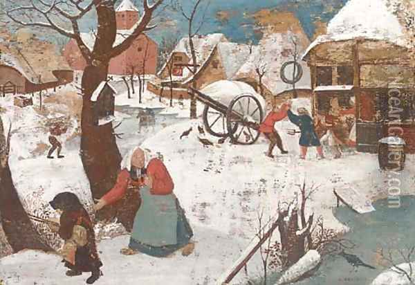 A winter landscape with peasants in a village Oil Painting - Pieter The Younger Brueghel