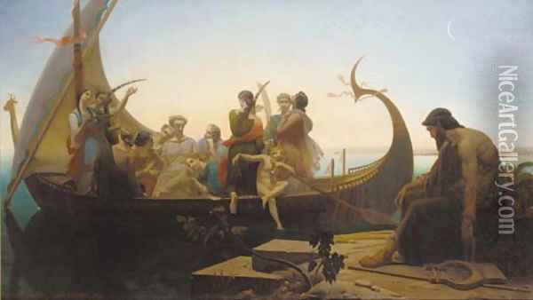 Greek mythological figures on a boat near a pier Oil Painting - Louis Marie Baader