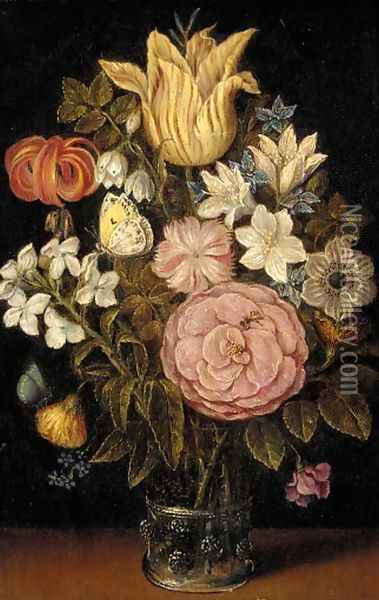A rose, a tulip, an iris and other flowers in a glass vase, with a butterfly Oil Painting - Ambrosius the Elder Bosschaert
