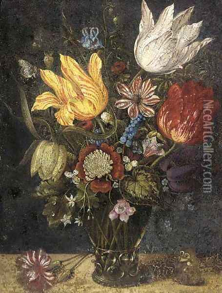 Parrot tulips and other flowers in a roemer, with a carnation and a butterfly on a ledge Oil Painting - Ambrosius the Elder Bosschaert