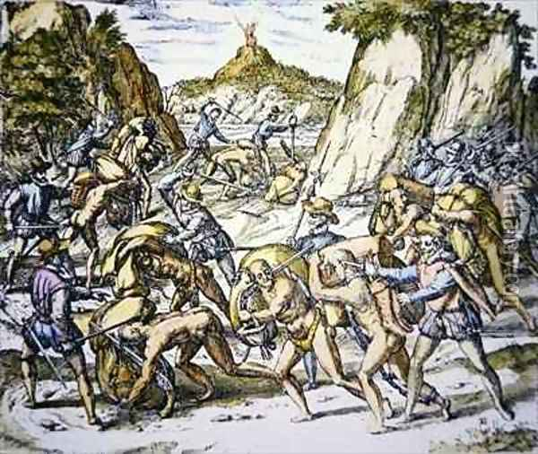 Conquistadors enslaving and beating native American baggage carriers Oil Painting - Theodore de Bry