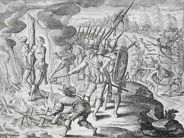 Execution of two Payagua Indians accused of killing Juan de Ayolas Oil Painting - Theodore de Bry