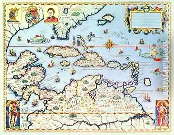 Map of the Caribbean islands and the American state of Florida Oil Painting - Theodore de Bry