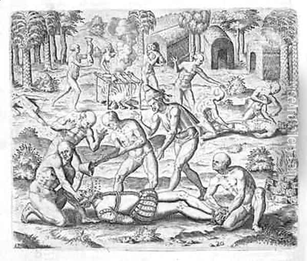 Massacre of Christian missionaries near Cumana, Venezuela Oil Painting - Theodore de Bry