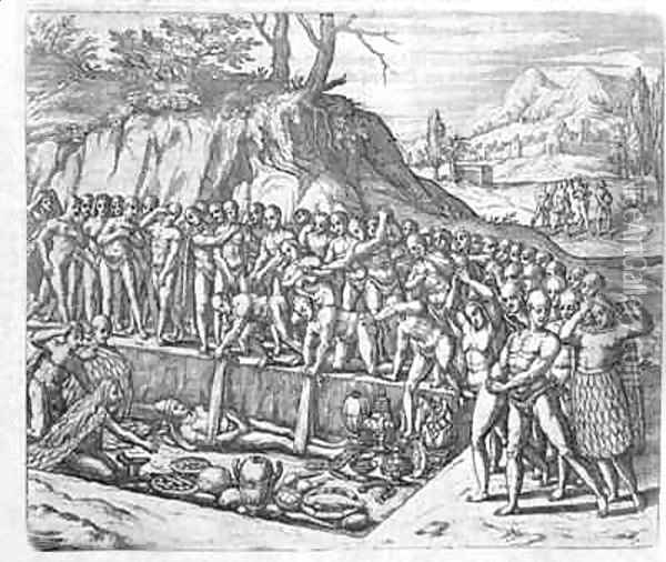 Method of burial of Peruvian kings and nobility from Girolamo Benzoni's account of the conquest of Peru Oil Painting - Theodore de Bry