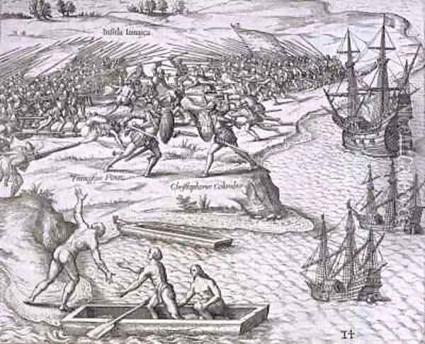 Battle in Jamaica between Christopher Columbus (1451-1506) and Francisco Poraz Oil Painting - Theodore de Bry
