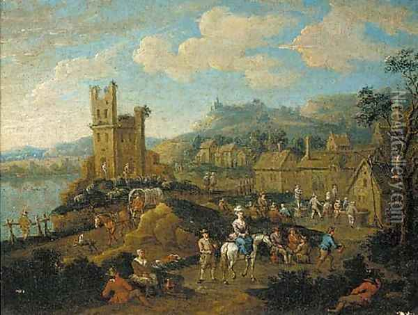 A river landscape with travellers passing through a village Oil Painting - Adriaen Frans Boudewijns