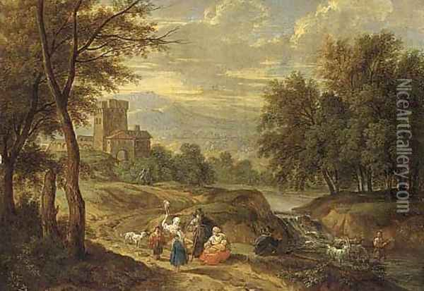 A mountain landscape with travellers on a path and a shepherd crossing a ford Oil Painting - Adriaen Frans Boudewijns