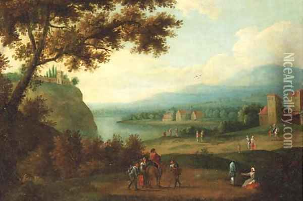 Travellers on a path, a riverlandscape in the distance Oil Painting - Adriaen Frans Boudewijns