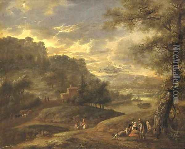 An extensive wooded river landscape with travellers resting on a path Oil Painting - Adriaen Frans Boudewijns