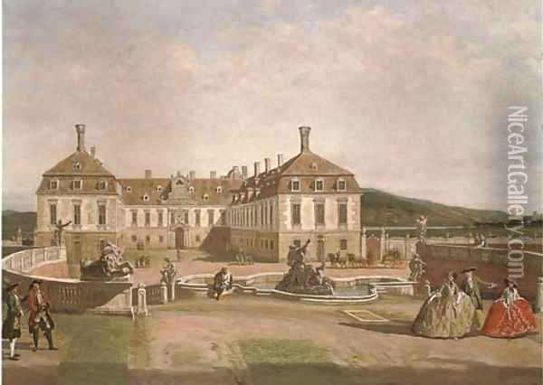 Elegant figures in the courtyard of a chateau Oil Painting - Bernardo Bellotto