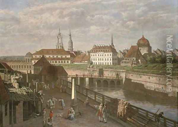 Figures by the river Elbe, Dresden Oil Painting - Bernardo Bellotto