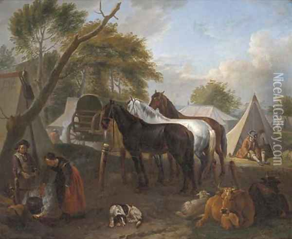 A military encampment with figures cooking in the foreground Oil Painting - Pieter van Bloemen