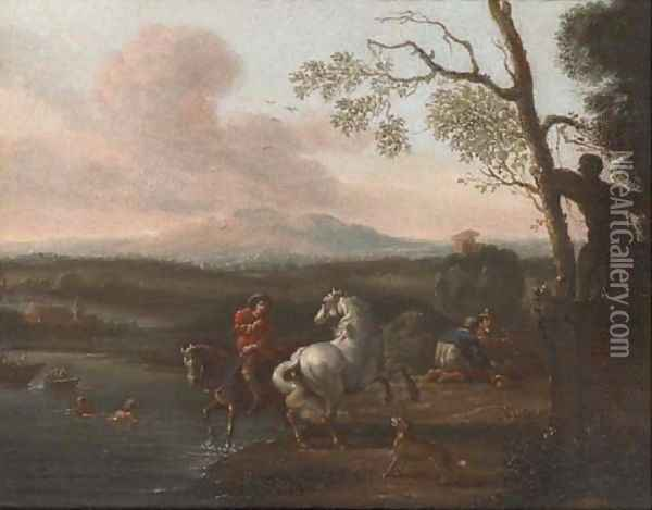 A riverside landscape with bathers and a horseman; and Figures at halt before a military encampment Oil Painting - Pieter van Bloemen
