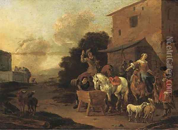 A village inn with a hunting party halting to water horses Oil Painting - Pieter van Bloemen