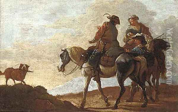 Mounted travellers with a dog on a mountain path Oil Painting - Pieter van Bloemen