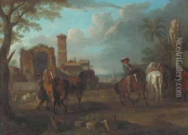 An Italianate town with Roman ruins and horsemen in the foreground Oil Painting - Pieter van Bloemen