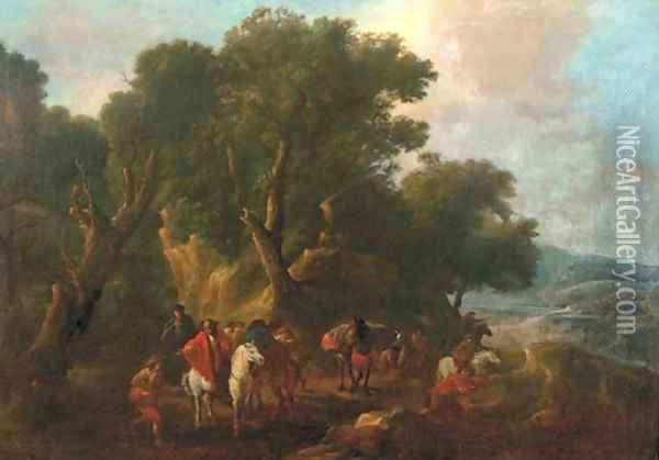 An Italianate wooded landscape with an ambush in the forground Oil Painting - Pieter van Bloemen