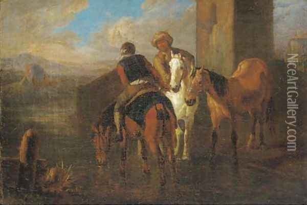 Riders at halt by a river in an Italianate landscape Oil Painting - Pieter van Bloemen