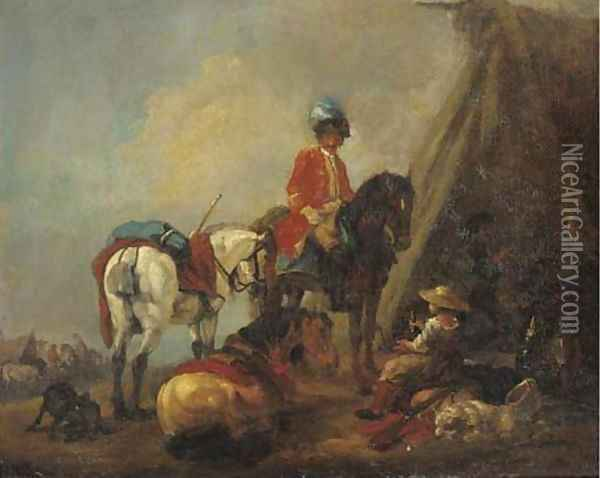 A cavalryman and a wine seller in a military encampment Oil Painting - Pieter van Bloemen