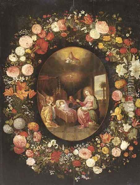 A garland of roses, tulips, jasmine and other flowers encircling an oval of The Virgin with Angels adoring the Child in the crib, with God the Father Oil Painting - Jan Brueghel the Younger