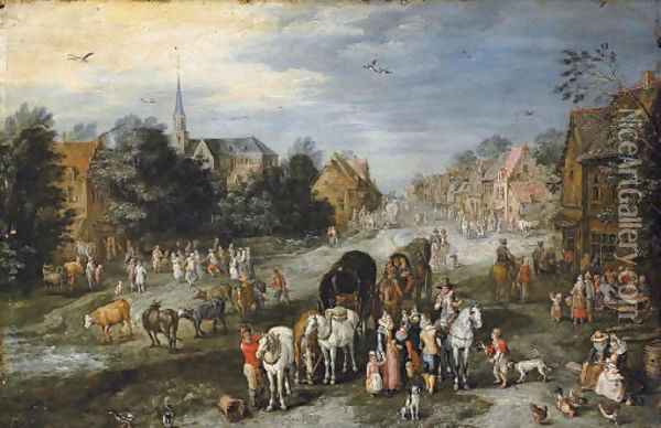 A village landscape with a kermesse Oil Painting - Jan Brueghel the Younger