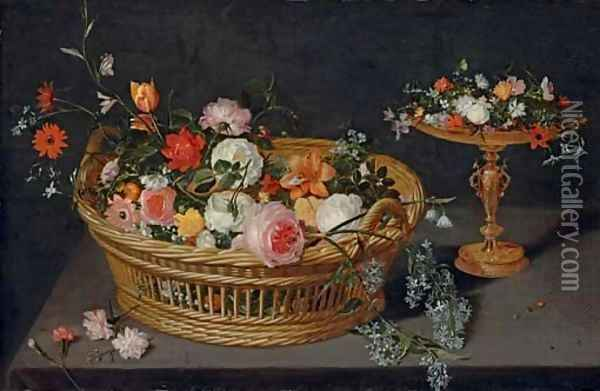 A basket of flowers with a tazza on a wooden ledge Oil Painting - Jan Brueghel the Younger