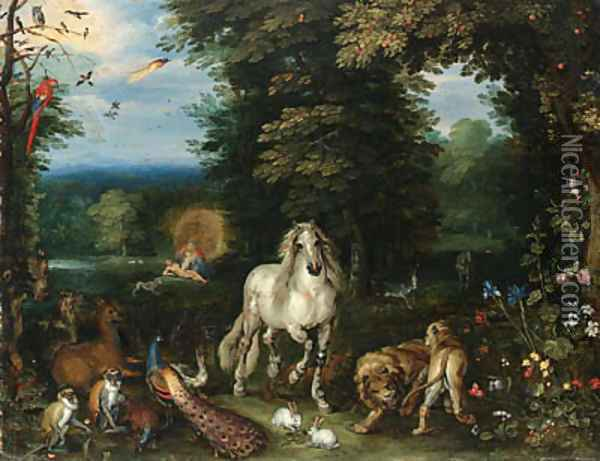 Animals and birds in the Garden of Eden, the Creation of Eve beyond Oil Painting - Jan Brueghel the Younger