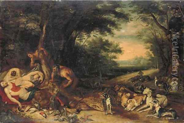 Diana and her nymphs sleeping with satyrs approaching Oil Painting - Jan Brueghel the Younger
