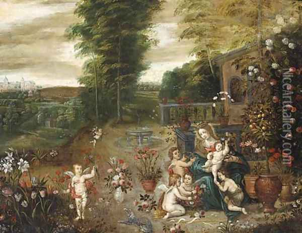 The Madonna and Child seated in a garden with the Infant Saint John the Baptist and putti Oil Painting - Jan Brueghel the Younger